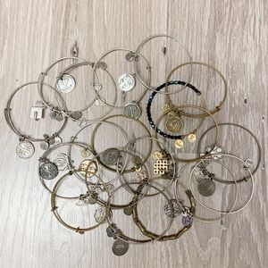 Alex and Ani lot of 19 bracelets gold silver
